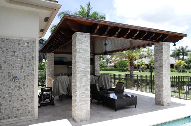 Roofed Pergola with Outdoor Kitchen